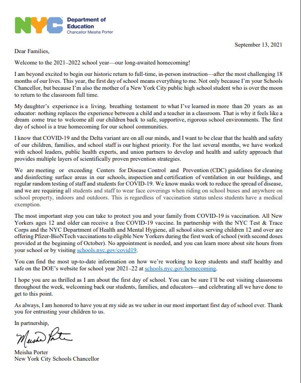 Welcome letter page 1 September 13, 2021